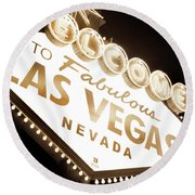 Tonight In Vegas Round Beach Towel