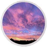 Tonight's Sunset Over Tesco :) #view Round Beach Towel