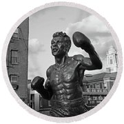 Tony Demarco Boxer Statue North End Boston Ma Sunset Black And White Round Beach Towel