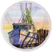 Tonyo Shrimp Boat Round Beach Towel