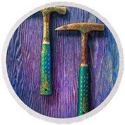 Tools On Wood 65 Round Beach Towel