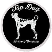 Top Dog Brewing Company Tee White Ink Round Beach Towel