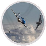 Top Gun - 1944 Version - P51 V Bf109g Round Beach Towel