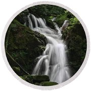Top Of Mouse Creek Falls  Round Beach Towel