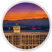 Top Of The Bellagio After Sunset Round Beach Towel