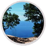 Top Of The Dune At Sleeping Bear Ll Round Beach Towel