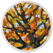 Top Of The Maples Round Beach Towel