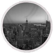 Top Of The Rock At Sunset Bw Round Beach Towel