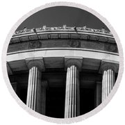 Top Portion Of A Lincoln Memorial Old Greek Architecture Round Beach Towel