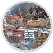 Top View. Krasnaya Polyana. Round Beach Towel