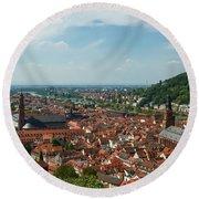 Top View Of Heidelberg, Germany. Round Beach Towel