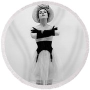 Topless Woman With Long Gloves, C.1950s Round Beach Towel