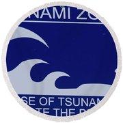 Topsail Island's Tsunami Zone Sign Round Beach Towel