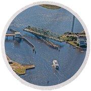 Topsail Swing Bridge Round Beach Towel