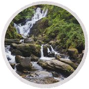 Torc Waterfall In Killarney National Round Beach Towel