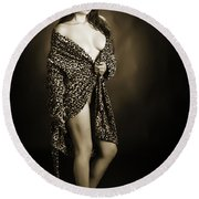 Toriwaits Nude Fine Art Print Photograph In Black And White 5105 Round Beach Towel