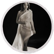 Toriwaits Nude Fine Art Print Photograph In Black And White 5118 Round Beach Towel