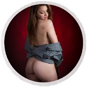 Toriwaits Nude Fine Art Print Photograph In Color 5089.02 Round Beach Towel