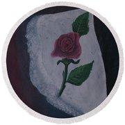 Torn Canvas Rose Round Beach Towel