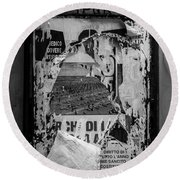Torn Posters Rome Italy Round Beach Towel