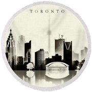 Toronto Black And White Round Beach Towel