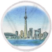Toronto Canada City Skyline Round Beach Towel
