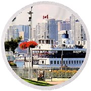 Toronto Island Ferry Arrives Round Beach Towel