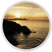 Toronto Lakeshore Vortex - Round Beach Towel
