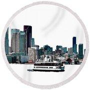 Toronto Portlands Skyline With Island Ferry Round Beach Towel