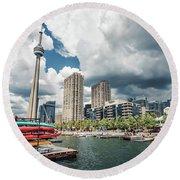 Toronto - Skyline / Harbourfront Round Beach Towel