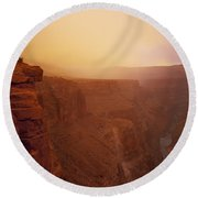 Toroweap Overlook Storm Sunrise Round Beach Towel
