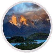 Torres Del Paine National Park, Chile Round Beach Towel