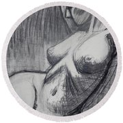 Torso 6 - Female Nude  Round Beach Towel