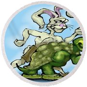 Tortoise And The Hare Round Beach Towel
