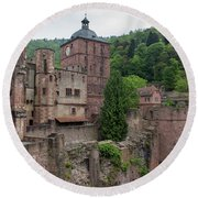 Torturm And Seltenleer Heidelberger Schloss Round Beach Towel