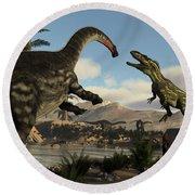 Torvosaurus And Apatosaurus Dinosaurs Fighting - 3d Render Round Beach Towel