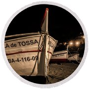 Tossa De Mar By Night Round Beach Towel