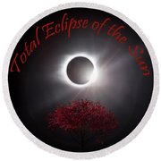 Total Eclipse Of The Sun In Art Round Beach Towel
