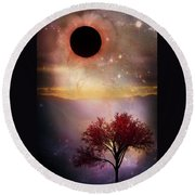 Total Eclipse Of The Sun Tree Art Round Beach Towel