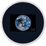 Total Solar Eclipse Casting Shadow Round Beach Towel