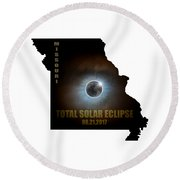 Total Solar Eclipse In Missouri Map Outline Round Beach Towel