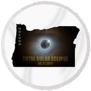 Total Solar Eclipse In Oregon Map Outline Round Beach Towel
