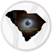 Total Solar Eclipse In South Carolina Map Outline Round Beach Towel
