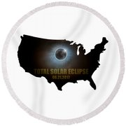Total Solar Eclipse In United States Map Outline Round Beach Towel