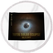 Total Solar Eclipse In Wyoming Map Outline Round Beach Towel