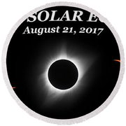 Total Solar Eclipse Stages Round Beach Towel