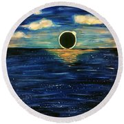 Totality On The Sea - Solar Eclipse  Round Beach Towel
