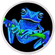 Totally Blue Frog On A Vine Round Beach Towel