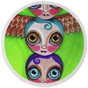 Totem Dolls Round Beach Towel
