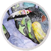 Toucan Bird Tropical Painting Fine Modern Art Print Round Beach Towel